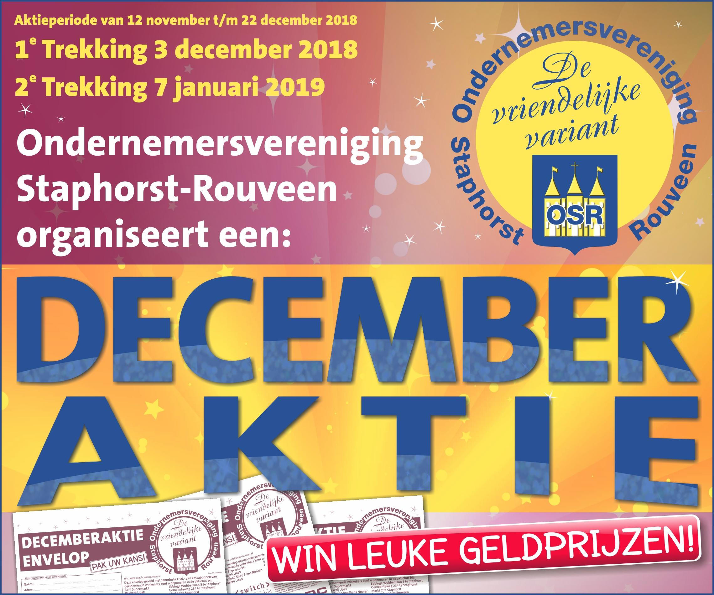 Win leuke geldprijzen met de decemberaktie van de Ondernemersvereniging Staphorst-Rouveen.